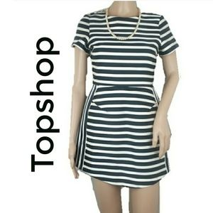 Topshop Striped Satin Structured ShortSleeve Dress